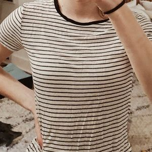 garage black and white striped t-shirt